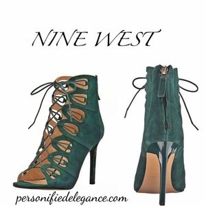Nine West Leslie Green Suede Cage Heels 10.5M